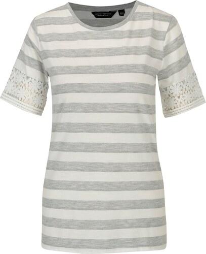 c0641c7a0993 Sivo–biele pruhované tričko s čipkou Dorothy Perkins - Glami.sk