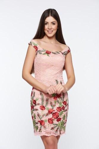 f2e073b690 StarShinerS Rózsaszínű Artista alkalmi hímzett ceruza ruha csipkés anyagból  belső béléssel