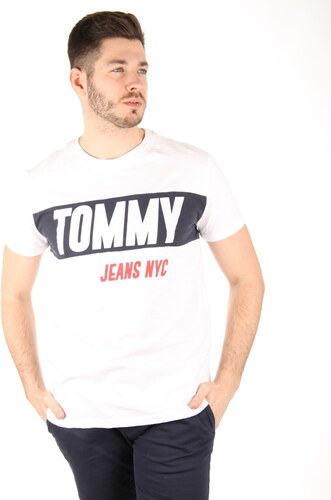 Tommy Hilfiger pánské bílé tričko Logo - Glami.sk 57b649f470b