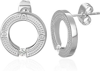 701f1a3cd Šperky eshop - Puzetové okrúhle náušnice z chirurgickej ocele, strieborná  farba, vsadený číry zirkón AB27.06