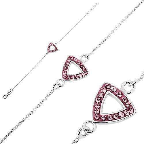 Šperky eshop - Strieborná retiazka na ruku 925 - trojuholník s výsekom a  zirkónmi U4.2 e8661aa04ae