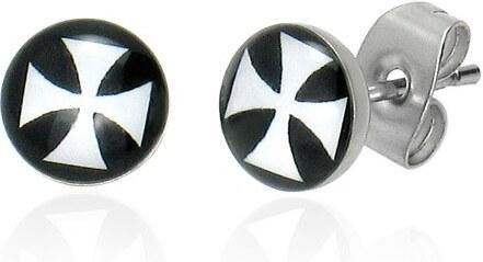 Šperky eshop - Okrúhle náušnice z chirurgickej ocele s bielym maltézskym  krížom A9.7 0bb5d693bed