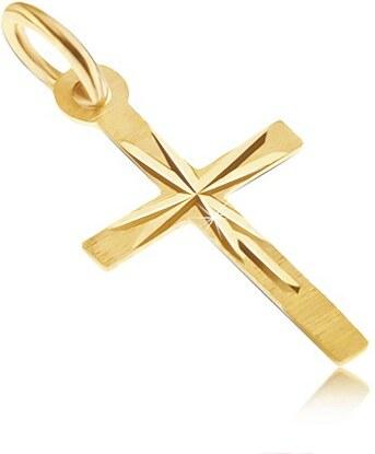 61b99f993 Šperky eshop - Prívesok v žltom 14K zlate - tenký latinský kríž, saténový  povrch, lúče GG29.02