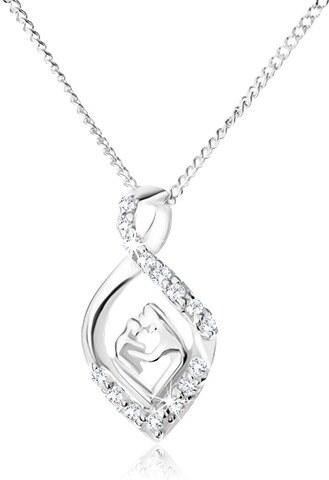 f69b4939a Šperky eshop - Strieborný 925 náhrdelník - retiazka a zatočená zirkónová  slza, matka a dieťa