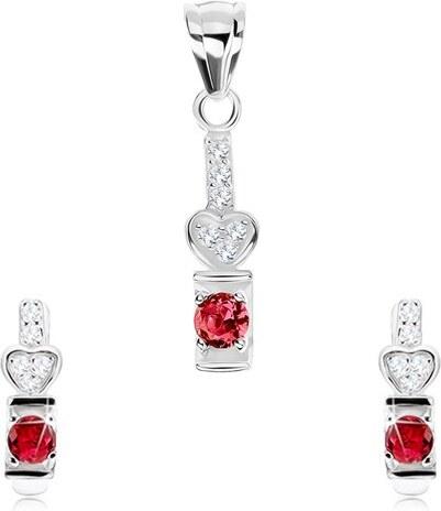 3a718f942 Šperky eshop - Set, striebro 925, náušnice a prívesok, ružový zirkón, číre  srdiečko SP77.06