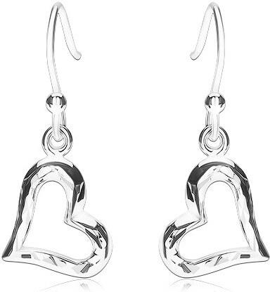 5c482bc04 Šperky eshop - Strieborné náušnice 925, vypuklý obrys srdiečka, lesklý  povrch so zárezmi SP87.26