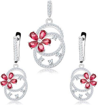 47b7dda55 Šperky eshop - Sada zo striebra 925, náušnice a prívesok, dve oválne  kontúry, ružový kvietok S29.06