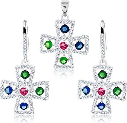 b0c869976 Šperky eshop - Sada zo striebra 925, náušnice a prívesok, maltézsky kríž,  číre a farebné zirkóny S42.14