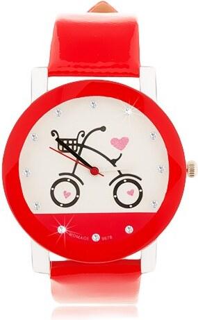 Šperky eshop - Červenobílé náramkové hodinky af55ed24cbe