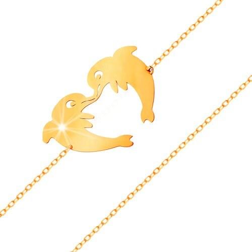 Šperky eshop - Zlatý náramok 585 - dva delfíny tvoriace kontúru srdiečka 06cbabd92b6