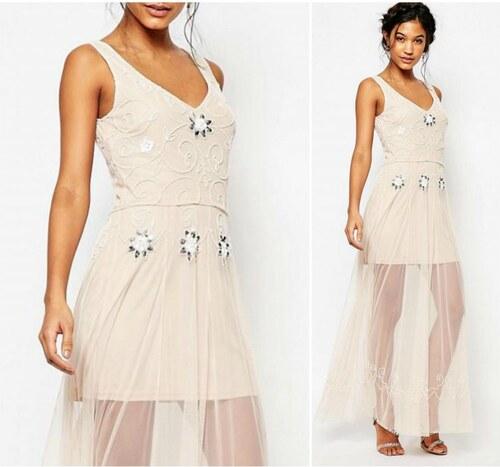 BOOHOO Dlouhé šifonové šaty vintage s korálkovým zdobením - Glami.cz 9afc790958