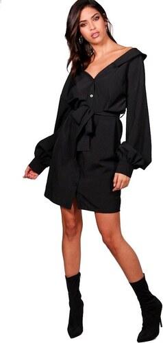 a0d8c2b71719 BOOHOO Serena Čierne košeľové šaty s opaskom - Glami.sk