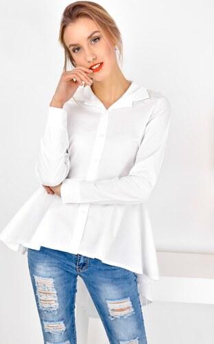 ee9fe021ec1 AKCE - Dámská delší bílá košile s volány 6390 - Glami.cz