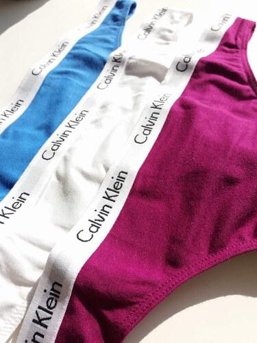 6ac848c383b Spodní prádlo Calvin Klein Carousel Cotton Thong 3-Pack QD3587 barevné L