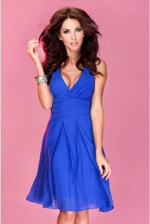 94a543f4a6a Krásné dámské šaty šifonové bez rukávu modré NUMOCO 35-1 - Glami.cz