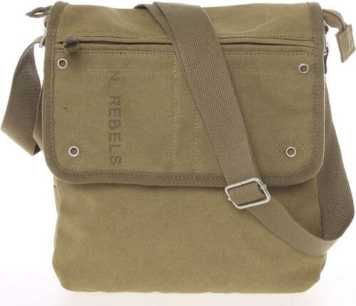 5dfa6df519 Moderná pánska látková khaki kabelka cez rameno - New Rebels Trevon hnedá