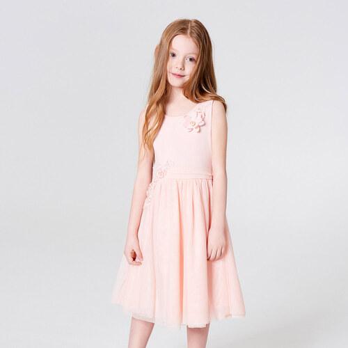 f31639f2601d Mohito - Dívčí šaty s květinovým zdobením little princess - Růžová ...