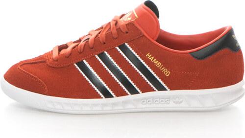 594449a3126 Adidas ORIGINALS Pantofi sport de piele intoarsa Hamburg, Rosu caramiziu/ Negru
