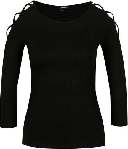 2d92d9a237 Čierne tričko s pásikmi na ramenách TALLY WEiJL - Glami.sk