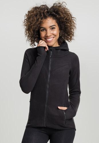 Dámska mikina na zips Urban Classics Ladies Polar Fleece Zip Hoody čierna 6af8e0c4616