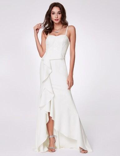 Ever-Pretty Bílé šaty se špagetovými ramínky a volány - Glami.cz 56e0d6daf1