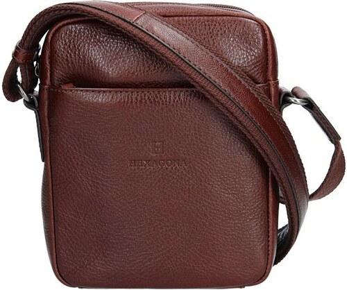 Pánská kožená taška přes rameno Hexagona Alfons - koňak - Glami.cz 59beb6030b5