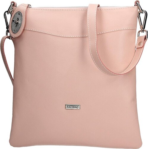 Dámská kožená crossbody kabelka Facebag Amanda - růžová - Glami.cz abf5a4b289