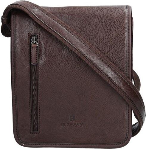 Pánská kožená taška přes rameno Hexagona 129483 - tmavě hnědá - Glami.cz b5cd62e7a39