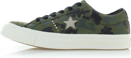 -14% Converse Női sötétzöld alacsony szárú bőr tornacipő One Star Gold Camo a77f671273