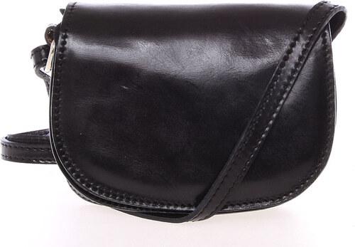 ItalY Malá čierna hladká crossbody kožená kabelka - Italo EmZoya čierna ac9d6f4db00