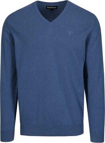 6d0c3f38ce2f Modrý sveter s véčkovým výstrihom a výšivkou Barbour Pima - Glami.sk