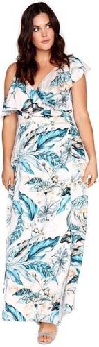 LITTLE MISTRESS Biele kvetinové zavinovacie maxi šaty s volánmi ... e4fb8d2357f