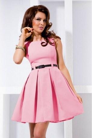 Dámské elegantní společenské šaty bez rukávu s páskem růžové NUMOCO 6-5 558ddd60e3