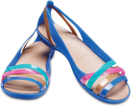 7d885f0712fc Crocs modré sandály Isabella Huarache 2 Flat Blue Jean Gold - Glami.cz