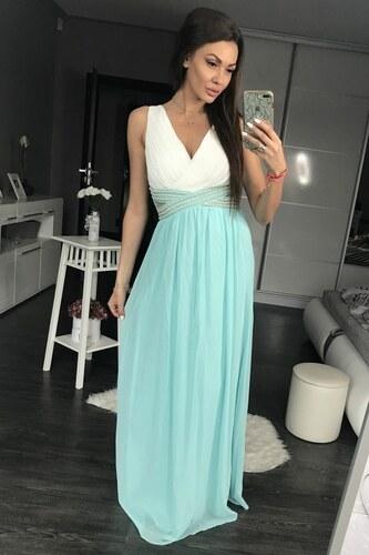 4008154540d Dámské společenské plesové šaty s průstřihy a perličkami dlouhé EVA   LOLA  modré