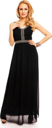 Dlouhé plesové šaty zdobené kamínky - černé - Glami.cz 5bdcc6c567