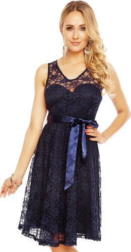 46508362324 Dámské krajkové šaty s mašlí - tmavě modré - Glami.cz