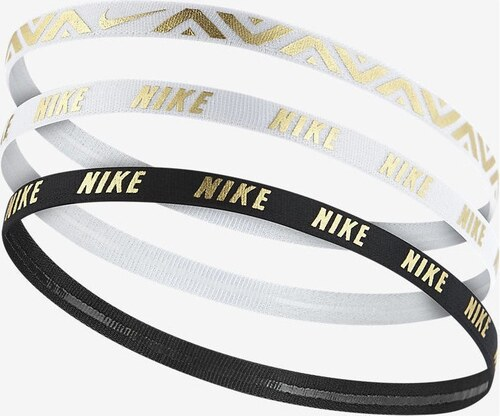 Dámská čelenka Nike METALLIC HAIRBANDS 3 PACK WHITE WHITE BLACK ... 21410b5e8c