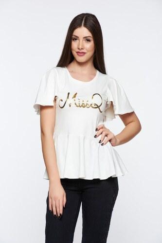 f7ab9703af Fehér StarShinerS casual fodros női blúz rugalmas és finom anyag nyomtatott  mintával