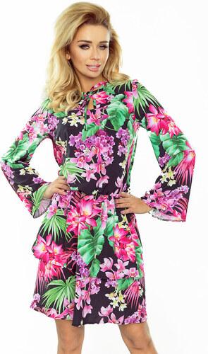 numoco Dámské šaty s dlouhým rozšířeným rukávem s dvojitou sukní květinový  vzor černé f9441f28a3