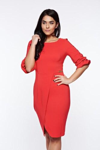 Piros StarShinerS elegáns ceruza ruha enyhén elasztikus szövet átfedéses ed0a7807d8