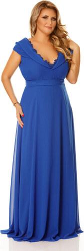 a3c1014753 StarShinerS Kék alkalmi ruha dekoltázzsal fátyol anyagból - Glami.hu