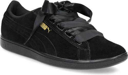 Puma Čierne kožené tenisky s mašľou - Glami.sk 90e04f1912e