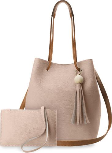 521aa38a2a World-Style.cz Unikátní shopper dámská kabelka vak s třásněmi + kapsička  růžová
