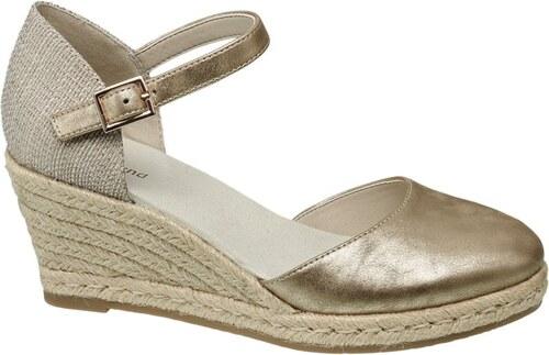 Graceland Metalické sandále na klinovom podpätku - Glami.sk e16c24a7831