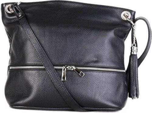 TALIANSKE Talianska kožená športová kabelka Genuine leather čierna Frame 8b54760175b