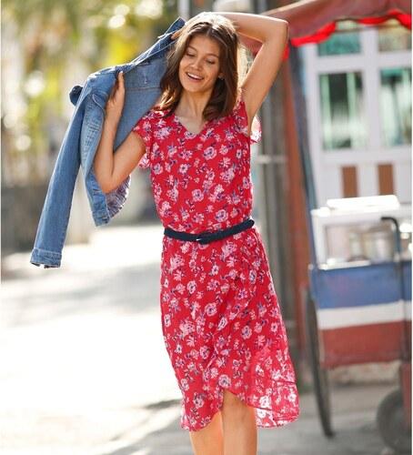 Blancheporte Volánové šaty s potlačou kvetín červená modrá - Glami.sk 865d0fbb733