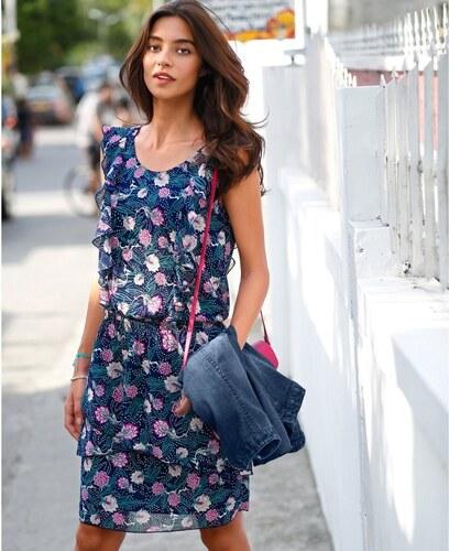 Blancheporte Volánové šaty s potlačou kvetín nám.modrá ružová - Glami.sk b62d5583760