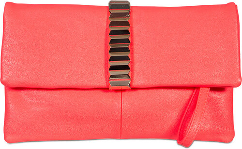 ikabelky Listová kabelka s výrazným detailom K-1010 - neónová červená 83a91f65f50