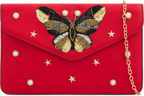 ikabelky Listová kabelka s motýľom K-H2155 červená - Glami.sk 341a7d77b86